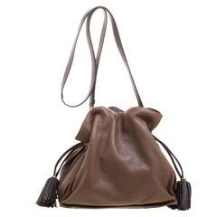 Loewe Brown Leather Flamenco Shoulder Bag