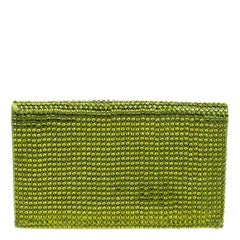Tom Ford Green Satin Crystal Embellished Flat Clutch
