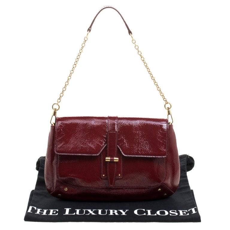 f6fae4271ac26 Saint Laurent Paris Red Patent Leather Emma Chain Shoulder Bag In Excellent  Condition For Sale In