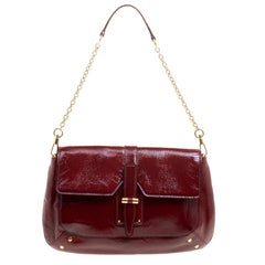 Saint Laurent Paris Red Patent Leather Emma Chain Shoulder Bag