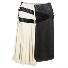Balenciaga Cream Silk Contrast Embellished Belt Detail Pleated Skirt M