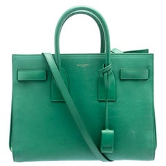 Saint Laurent Paris Green Leather Small Classic Sac De Jour Tote