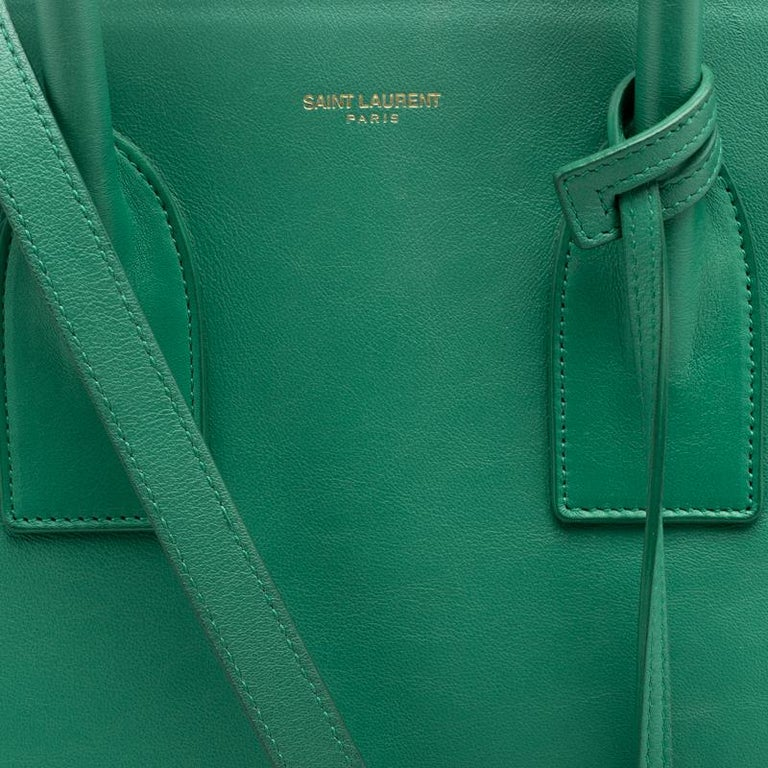 28e400ca061 Saint Laurent Paris Green Leather Small Classic Sac De Jour Tote For Sale 7