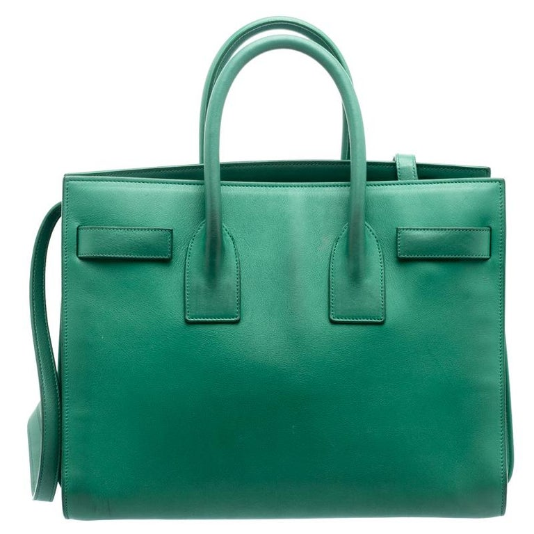 bd964e50911 ... Green Leather Small Classic Sac De Jour Tote For Sale. This Sac de Jour  tote bag by Saint Laurent Paris has a sophisticated look. Crafted
