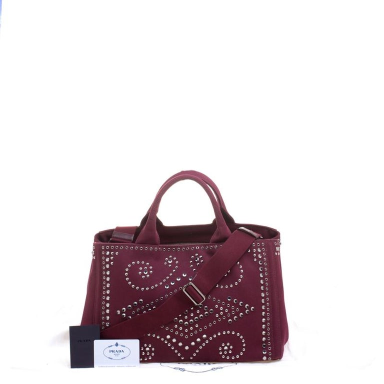 9ab4538d169773 Prada Burgundy Canvas Studded and Crystal Gardener's Tote For Sale 1