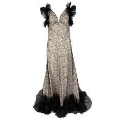 Alexander McQueen Black and Flesh Lace Ruffle Trim Sleeveless Gown M