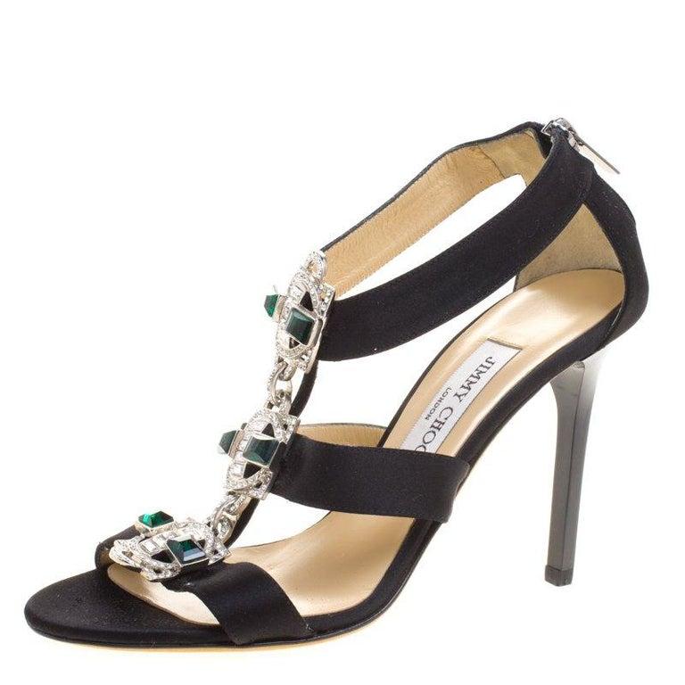 46c54a1816f9 Jimmy Choo Black Satin Crystal Embellished Strappy Sandals Size 38 For Sale