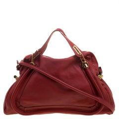 Chloe Red Leather Large Paraty Shoulder Bag