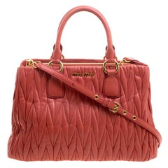 Miu Miu Red Matelasse Leather Shopper Tote