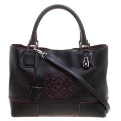 Loewe Black Leather Convertible Tote