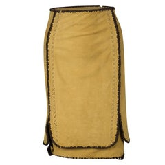 Yves Saint Laurent Paris Mustard Suede Contrast Trim Skirt S