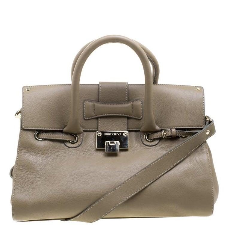 Jimmy Choo Beige Grainy Leather Rosalie Top Handle