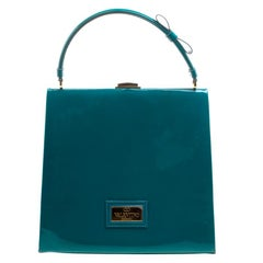 Valentino Green Patent Leather Top Handle Bag