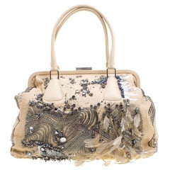 Valentino Beige Leather Embellished and Feather Alice Glam Frame Bag