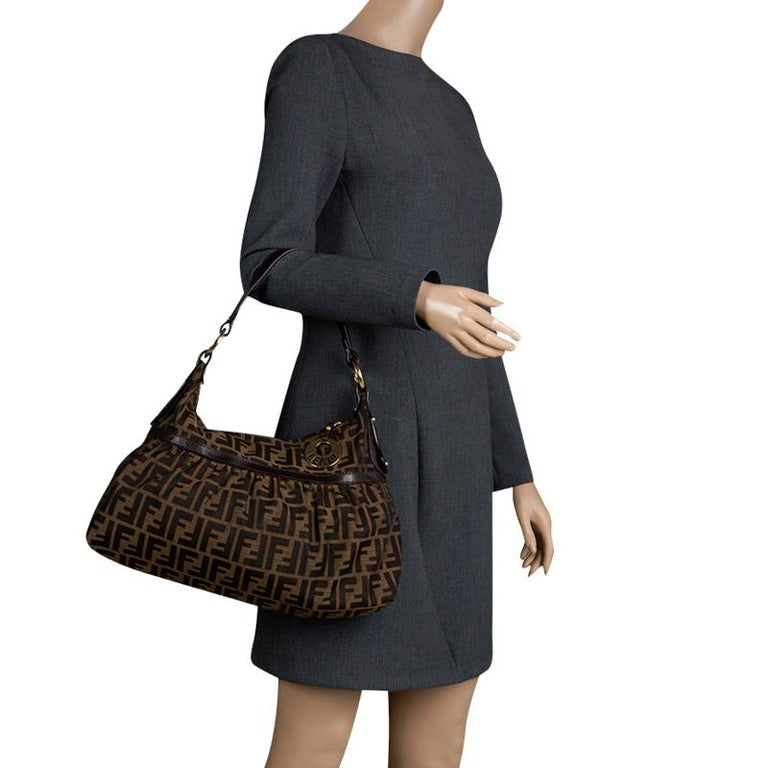 5c4a20f0e289 Black Fendi Tobacco Zucca Canvas Shoulder Bag For Sale