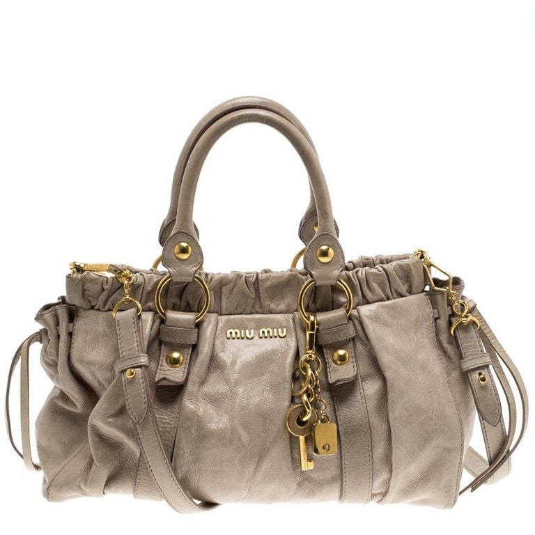 b5092ccf5 Miu Miu Beige Glazed Leather Luxe Ruched Top Handle Bag at 1stdibs