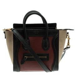 Celine Tri Color Leather and Suede Nano Luggage Tote