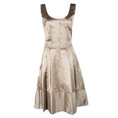 Dolce and Gabbana Beige Satin Pleated Sleeveless Dress S