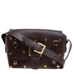 Valentino Dark Brown Leather Tribal Studs Box Bag