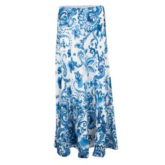 Ralph Lauren White Paisley Printed Silk Bria Maxi Skirt L