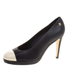Chanel Two Tone Leather Cap Toe Platform Pumps Size 41