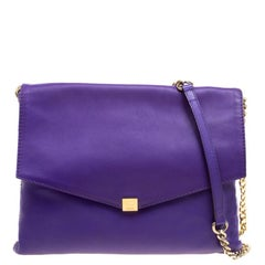 Carolina Herrera Purple Leather Envelope Shoulder Bag