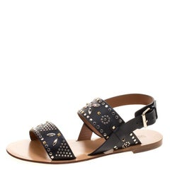 Valentino Black Embellished Leather Flat Sandals Size 38