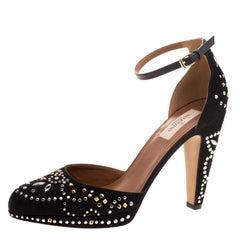 Valentino Black Leather And Embellished Suede Teodora Ankle Strap Platform Pumps