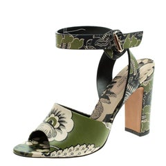 Valentino Green Printed Leather Ankle Strap Sandals Size 38.5
