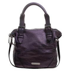 Burberry Purple Leather Tote
