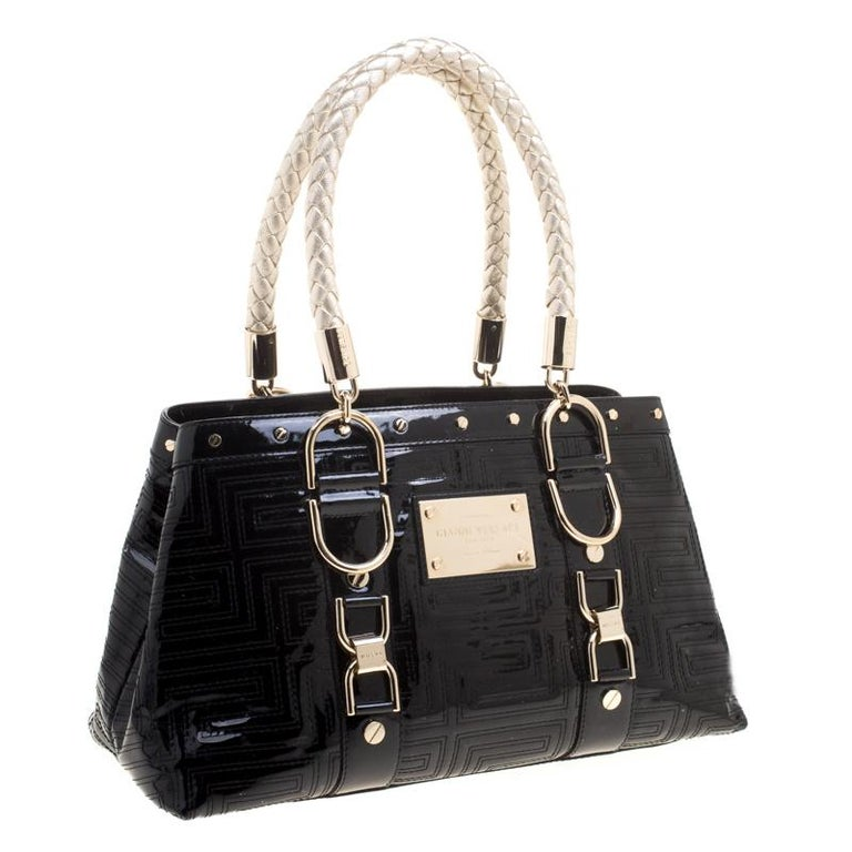 Versace Black Quilted Patent Leather Snap Out Of It Tote at 1stdibs 4ac1df74df04f