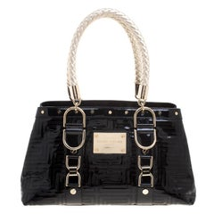 Versace Black Quilted Patent Leather Snap Out Of It Tote