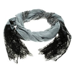 Valentino Grey Lace Printed Modal and Silk Scalloped Lace Detail Scarf