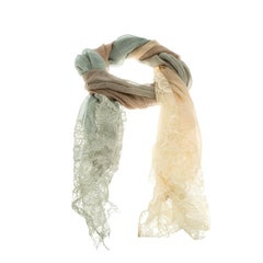 Valentino Multicolor Modal and Silk Scalloped Lace Detail Scarf