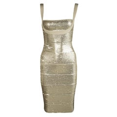 Herve Leger Antique Gold Sequined Bandage Dress XXS