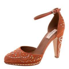 Valentino Orange Leather And Embellished Suede Teodora Ankle Strap Platform Pump