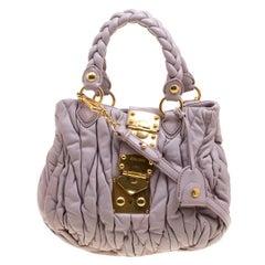 Miu Miu Lilac Matelasse Leather Shoulder Bag