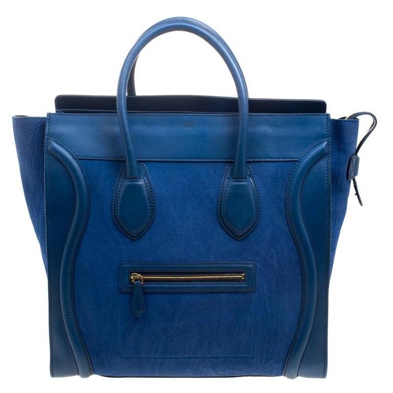 Celine Blue Grain Leather Medium Luggage Tote For