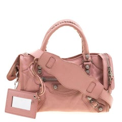 Balenciaga Vieux Rose Leather Mini Silver Hardware City Bag