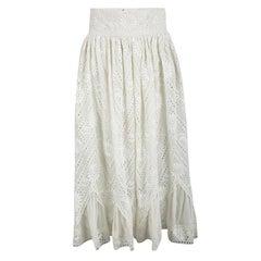 Valentino Cream Cotton Eyelet Embroidered High Waist Gathered Midi Skirt S