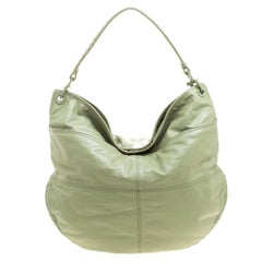 Bottega Veneta Olive Green Leather Woven Handle Hobo