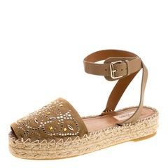 Valentino Beige Embellished Suede and Leather Ankle Strap Espadrilles Size 39