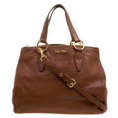 Miu Miu Brown Pebbled Leather Double Zip Convertible Tote
