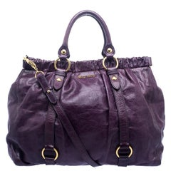 Miu Miu Purple Vitello Lux Leather Gathered Tote