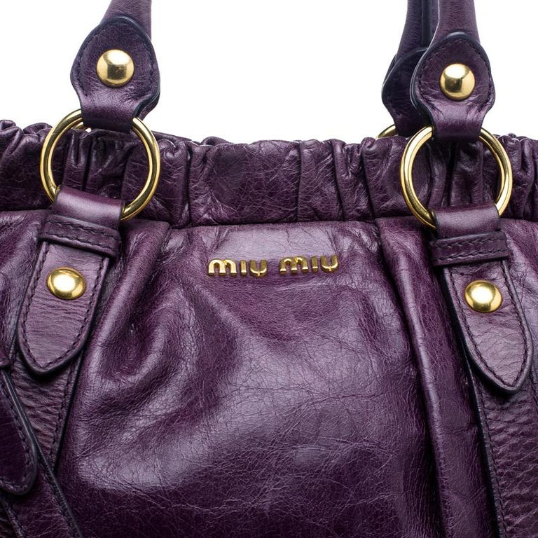 c077b9b4877f Miu Miu Purple Vitello Lux Leather Gathered Tote at 1stdibs
