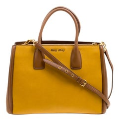 Miu Miu Yellow/Brown Leather Convertible Tote