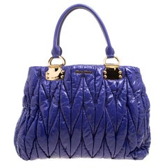 Miu Miu Lilac Matelasse Patent Leather Shopper Tote
