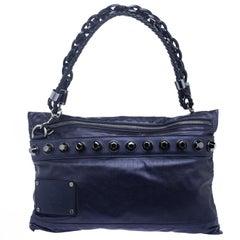 Gucci Metallic Blue Leather Studded Shoulder Bag