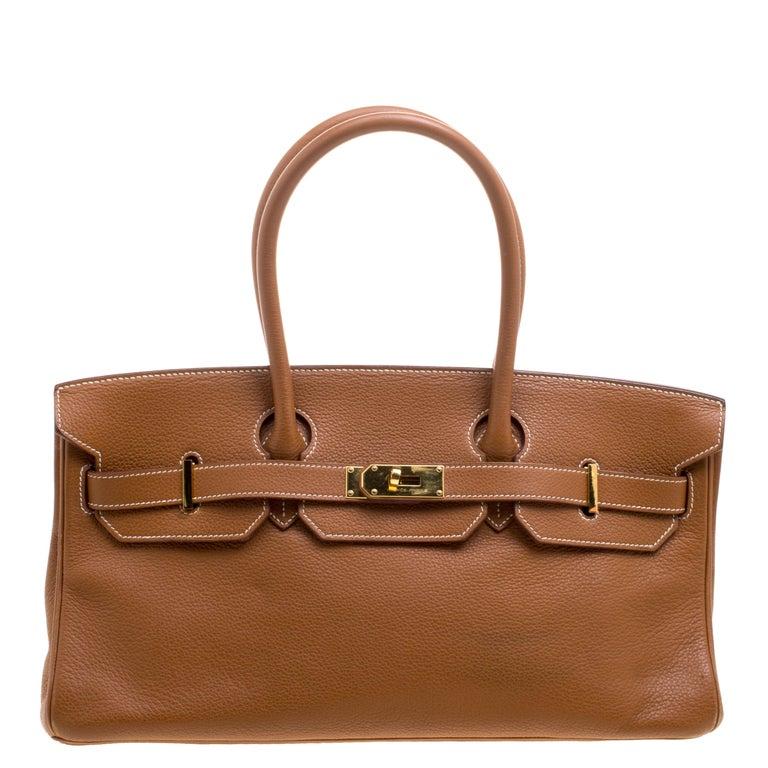 b0660caa42a Hermes Brown Togo Leather Gold Hardware Shoulder Birkin 42 Bag For Sale