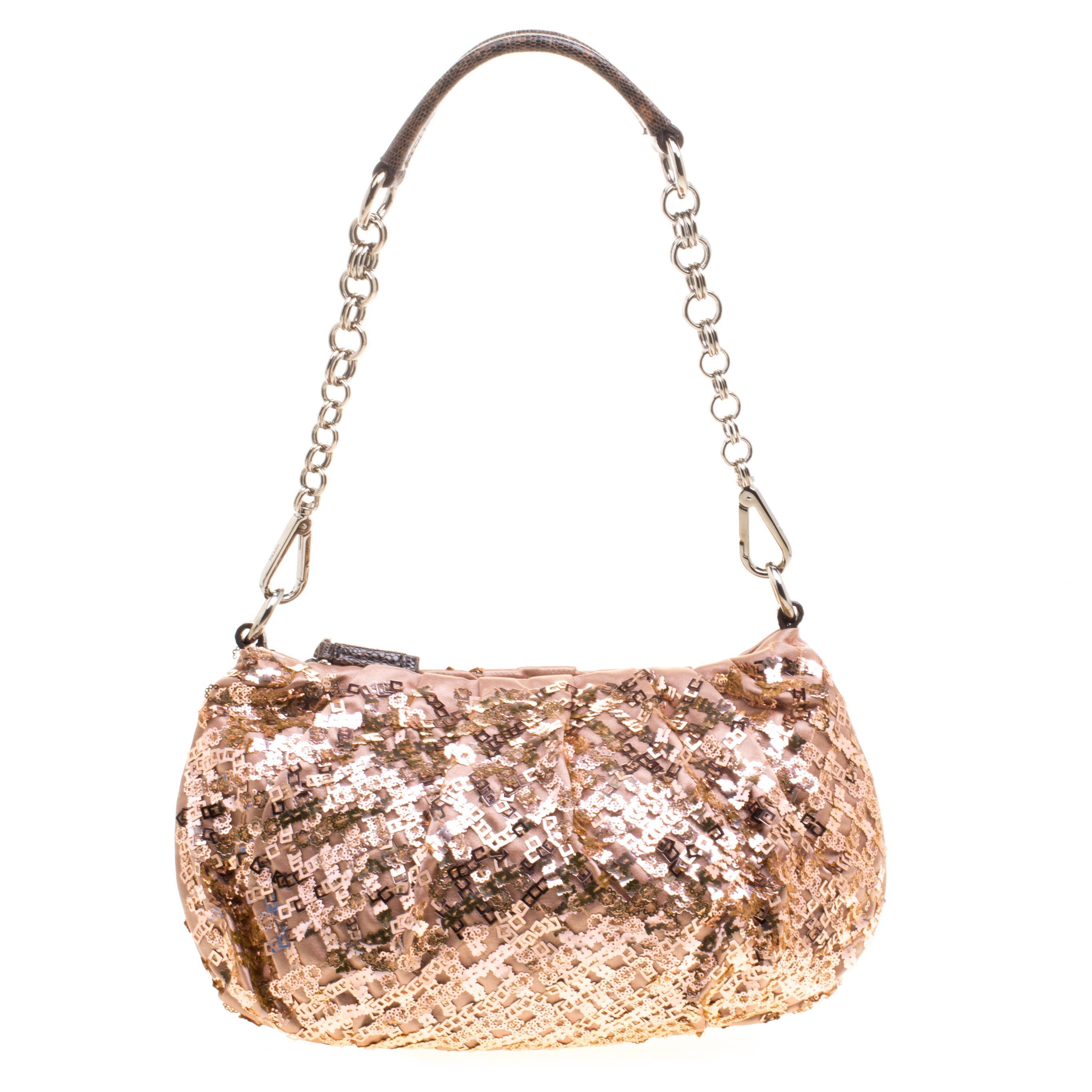 e5ed793977 Prada Blush Pink Bronze Satin Sequin Embellished Shoulder Bag at 1stdibs